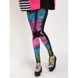 Leggins mujer estrella en la rodilla y estampado de colores