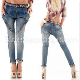 Jeans caídos con cremalleras