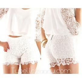 Shorts blancos talle alto encaje
