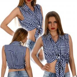 Camisa a cuadros en azul y blanco