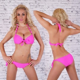 Bikini fucsia push up con lazo