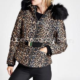 Abrigo estampado Leopardo con capucha con pelo Alta calidad