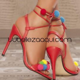 Sandalia roja tacón fino estilo Boho