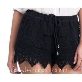 Shorts ganchillo Negro Blanco o Beige
