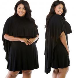 Vestido capa talla grande en Rojo o Negro