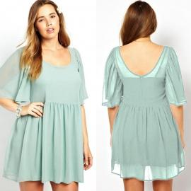 Vestido azul elegante vaporosos talla grande