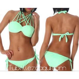 Bikini con copas push up tiras cruzadas en el cuello varios colores