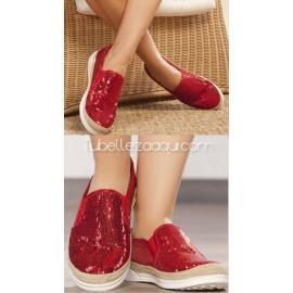 Zapatillas en color rojo con lentejuelas