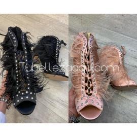 Sandalias Plumas de tacón con strass Negro o Rosa claro