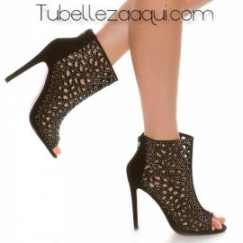 Botines mujer Peep Toes en Negro o Plata