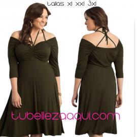 Vestido Talla grande en color Verde o Rosa fucsia