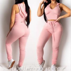 Conjunto Rosa Casual Top capucha + Pantalón