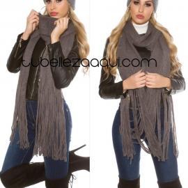 Bufanda mujer invierno con flecos en color Gris o Beige