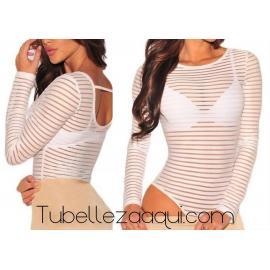 Body mujer rayas manga larga transparente Blanco