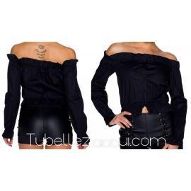 Camisa Negra manga larga con botones